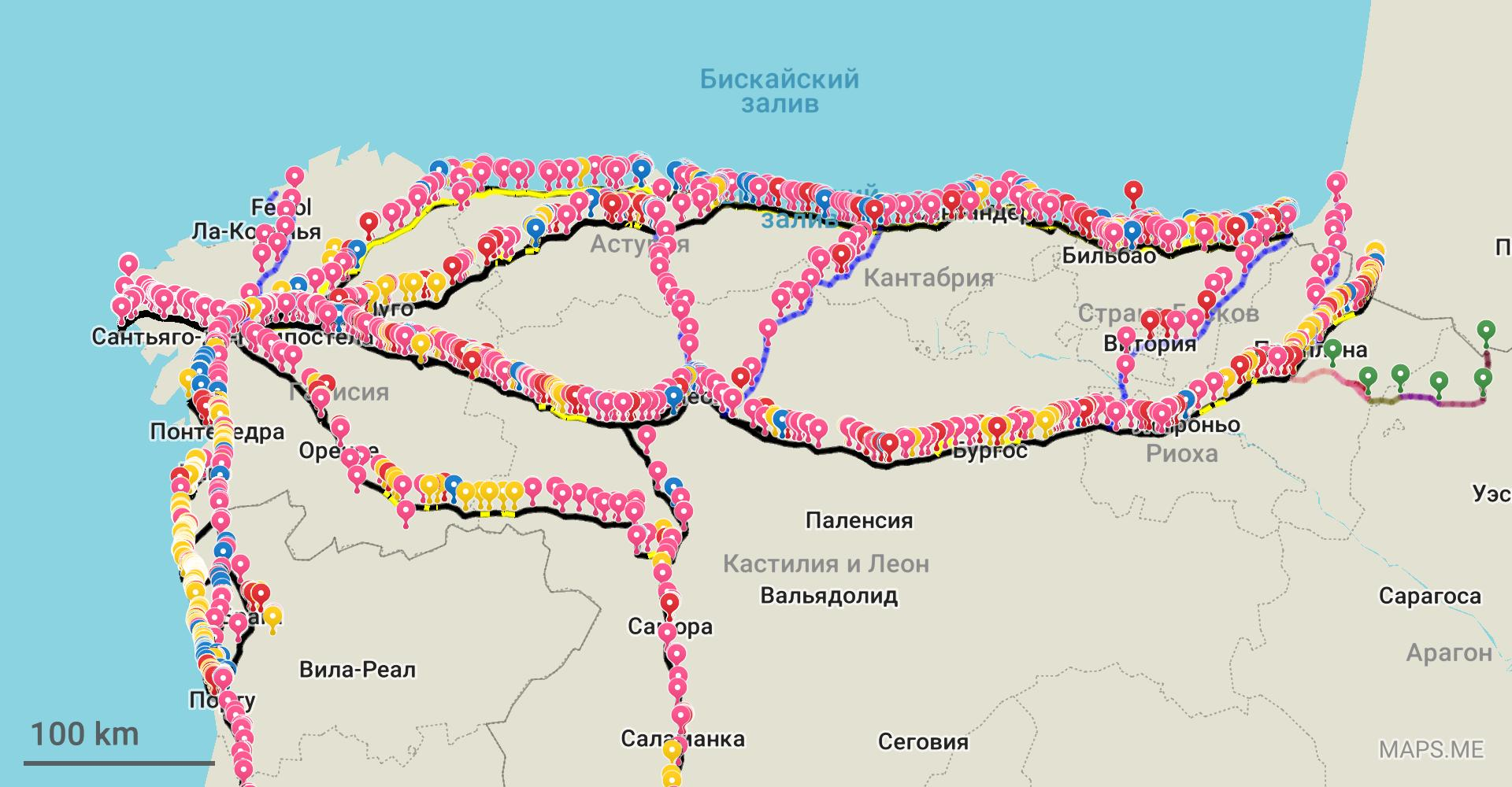 Карта Пути Сантьяго